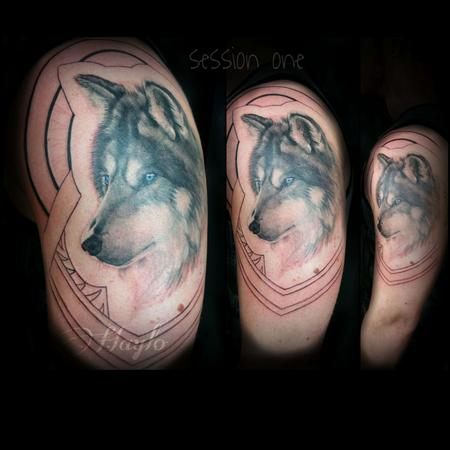 Haylo - Progression of Wolf and Native american/Islander style tribal sleeve