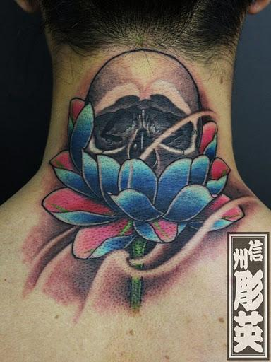 Custom Skull And Lotus Flower Tattoo By Shinshu Horiei