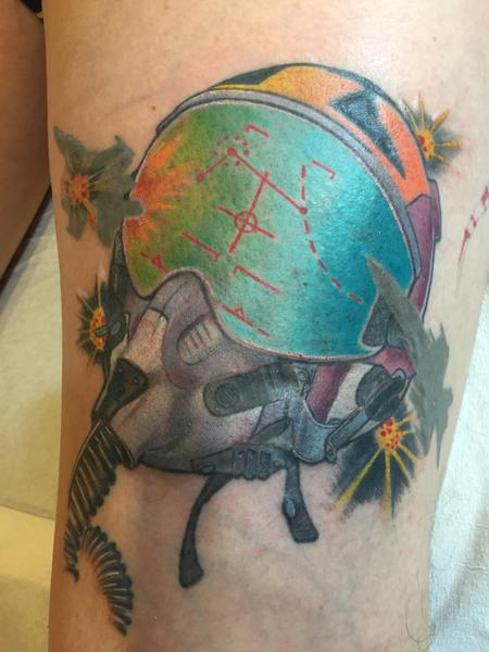 Dog Fight Helmet Tattoo