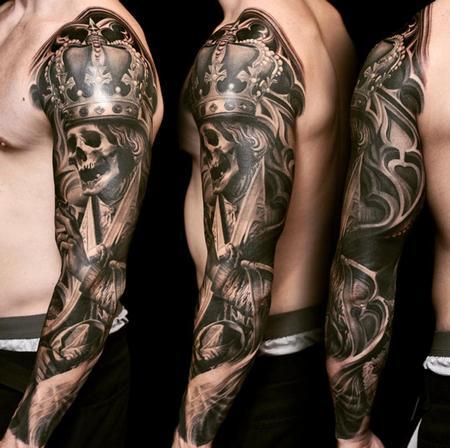 Nikko Hurtado - Skull King Arm Sleeve Tattoo