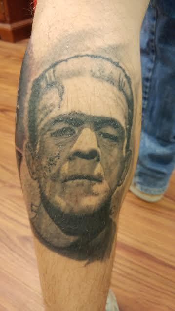Tattoos - Frankenstein's Monster Black and Grey Portrait Tattoo - 122725