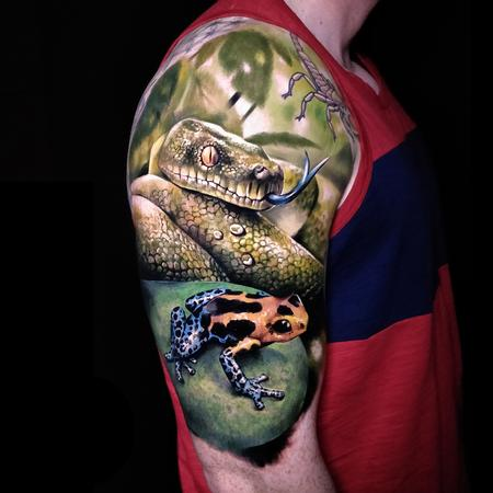 Tattoos - Python and Frog Tattoo - 137274