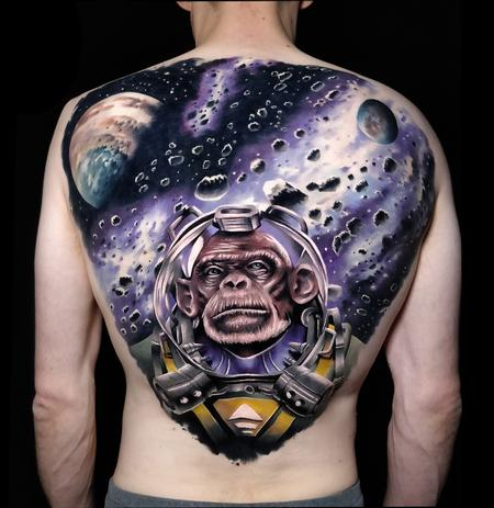 Monkey in Space Tattoo Design Thumbnail