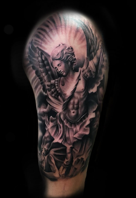 Jason Michalak - Angel black and grey tattoo