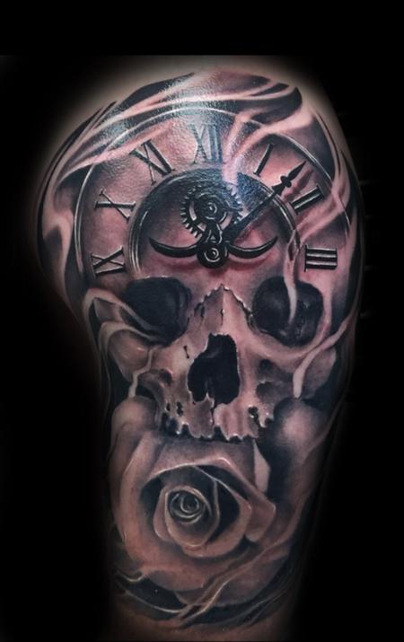 Jason Michalak - Skull clock tattoo