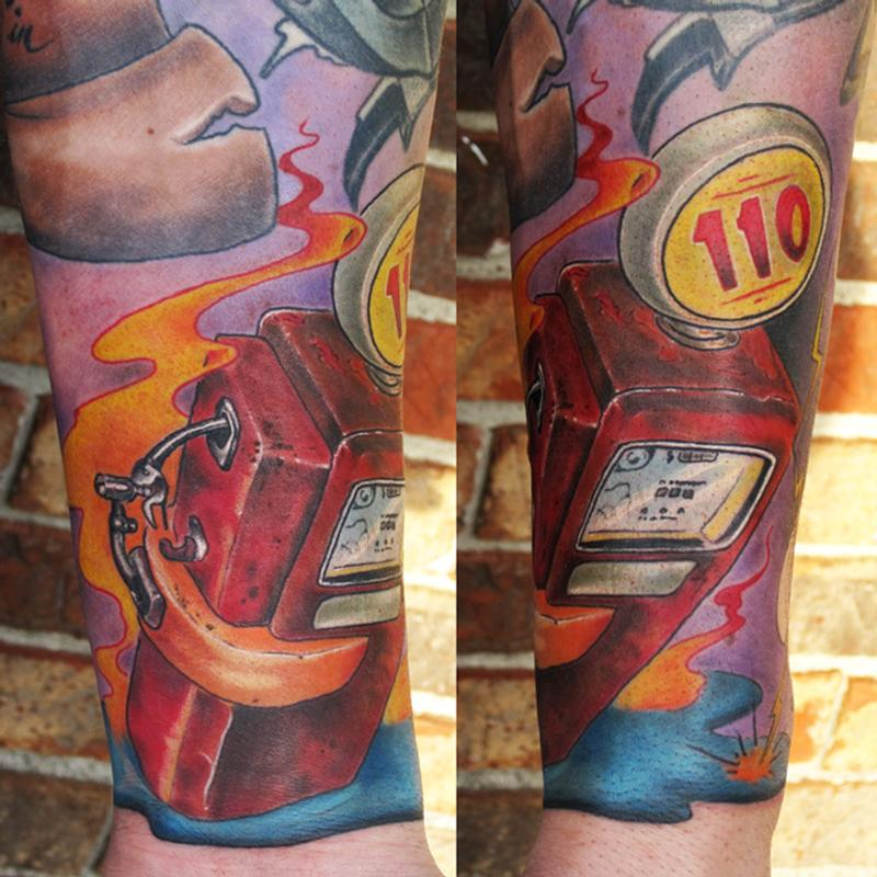 Vintage gas pump color arm tattoo with flames by jon von for Tattoo shops in st cloud mn