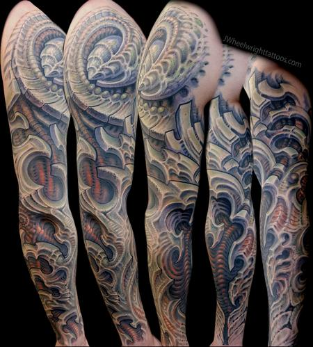 Tattoos - freehand cover up Biomech Sleeve - 132446