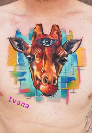 Tattoos - Giraffe Head with third eye - 72750
