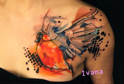 Ivana Tattoo Art - Bird.. watercolor