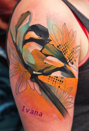 Ivana Tattoo Art - Chickadee Bird with flowers
