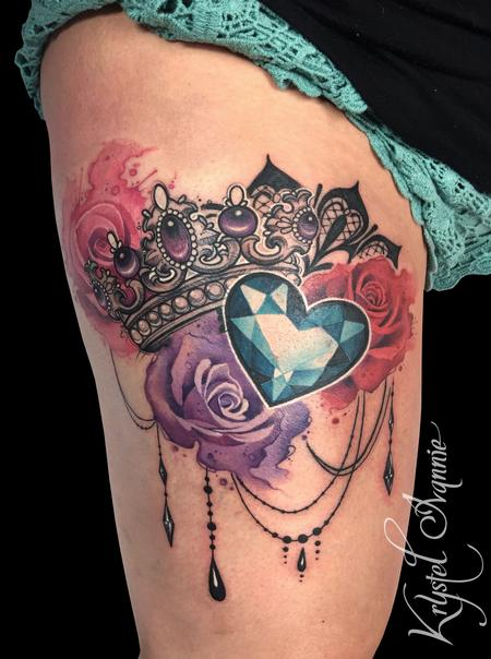 Tattoos - Crown, jewel and roses - 130370