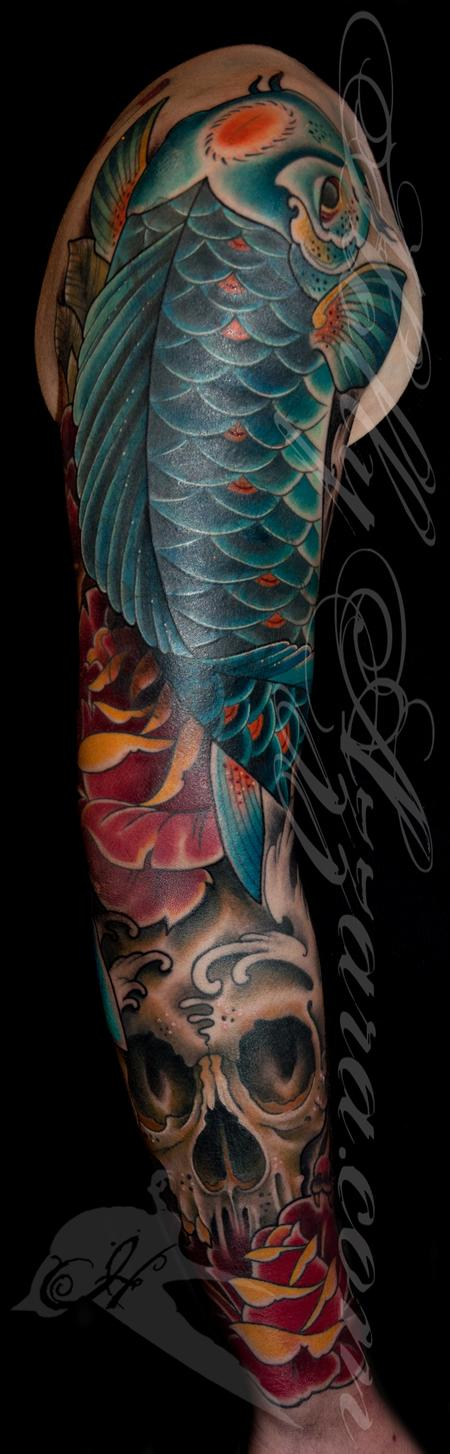 Holly Azzara - Traditional Koi Fish with skull and roses coverup sleeve closeup