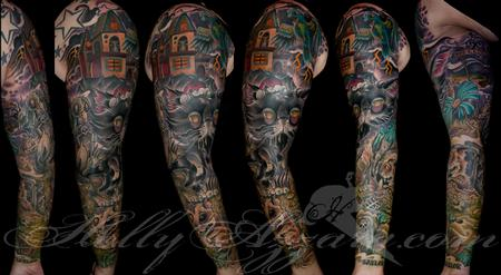 Holly Azzara - Zombie Pet Cemetery Sleeve Coverup Spread with Haunted Hause