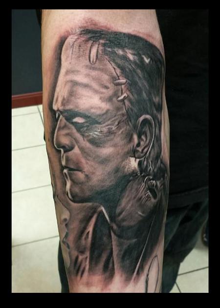 Tattoos - Black and Gray Frankenstein Tattoo - 115161