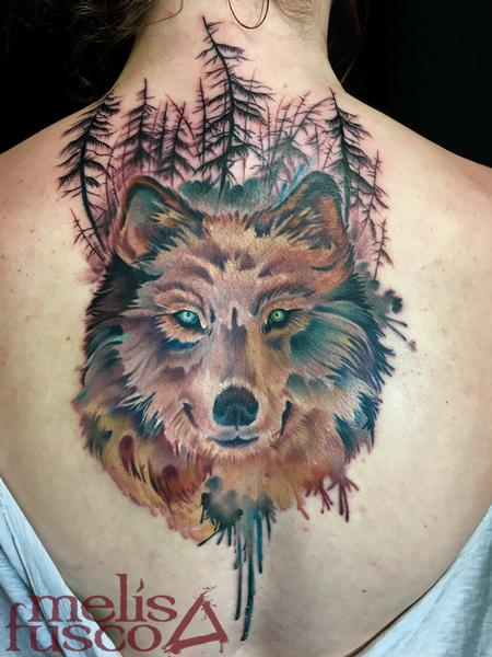 Tattoos - Wolf with gray wash gradient trees - 116142