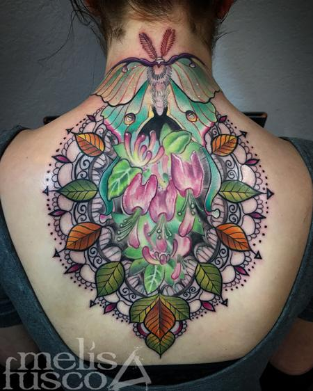 Tattoos - Luna moth and ornate design  - 129161