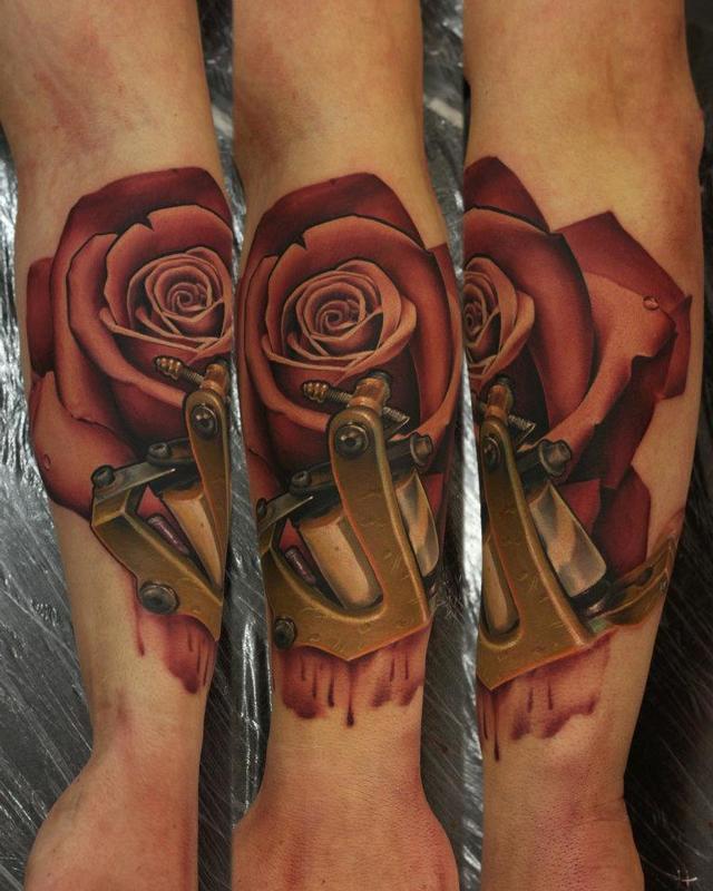 Realistic Rose And Tattoo Machine By John Anderton TattooNOW