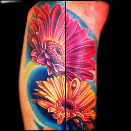 Nikko Hurtado - color flowers tattoo