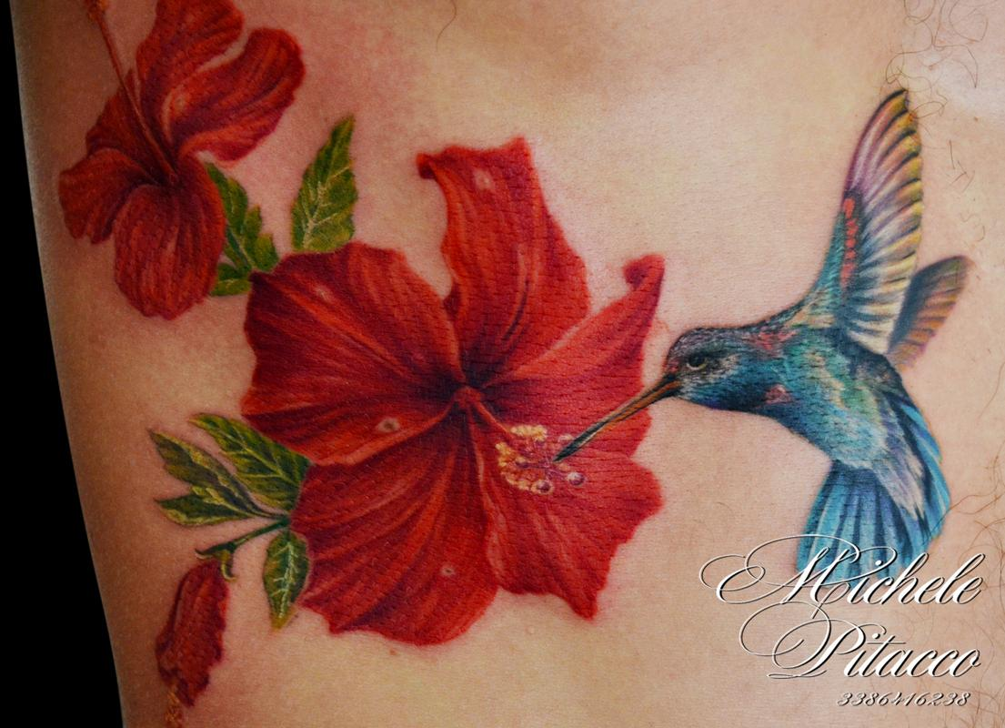 Hummingbird With Hibisus By Michele Pitacco Tattoonow