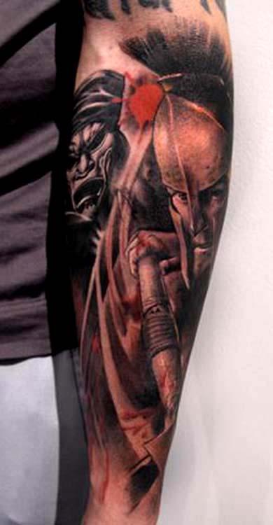300 movie sleeve tattoo by little dragon tattoonow for Little dragon tattoo