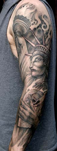 Paul Booth - Statue of Liberty sleeve tattoo