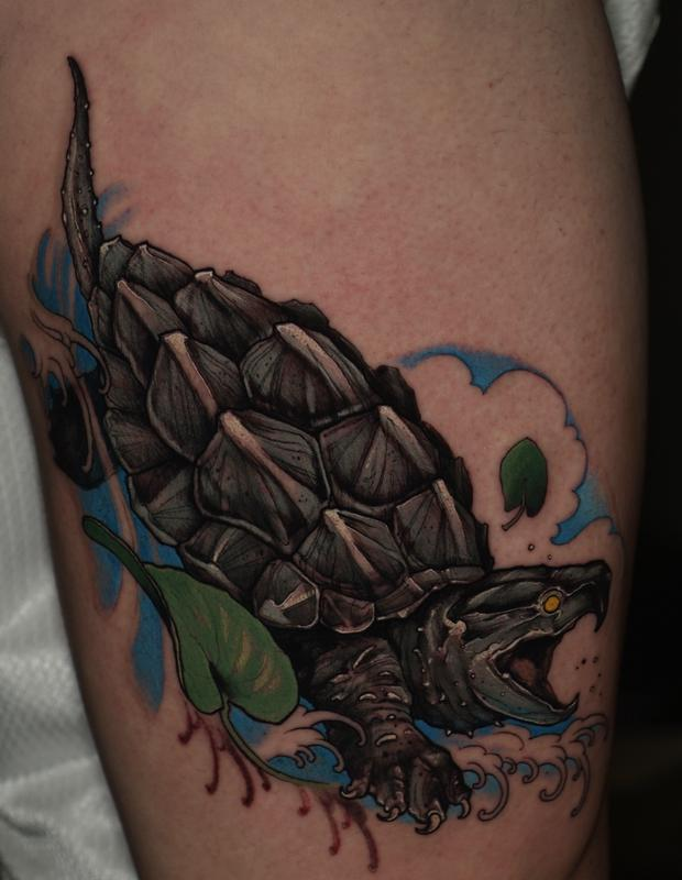 alligator snapping turtle by shawn hebrank tattoonow. Black Bedroom Furniture Sets. Home Design Ideas