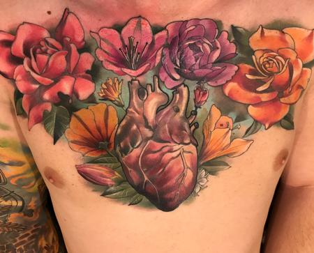 Tattoos - Damon Conklin Floral Heart - 131219