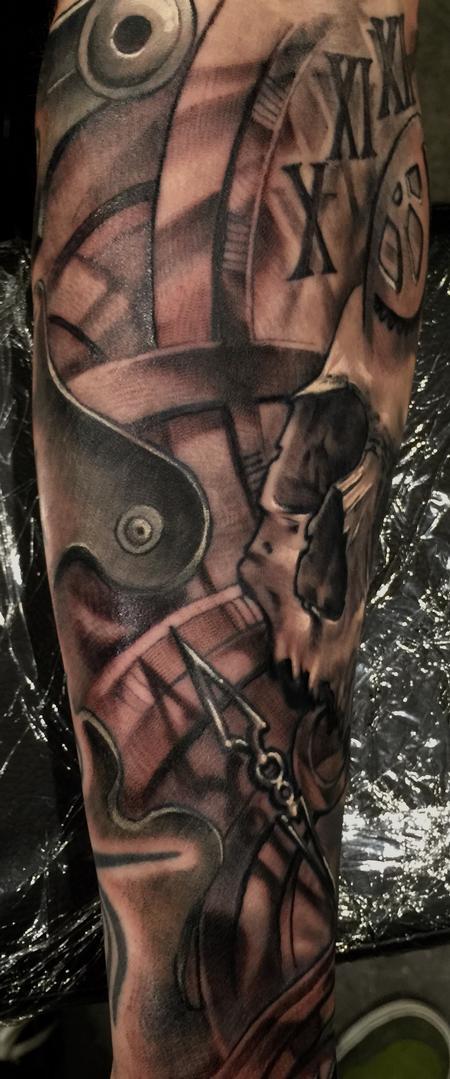 Tattoos - Damon Conklin Time Skull - 131242