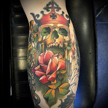 Rose with Skull and Crown Tattoo Design Thumbnail