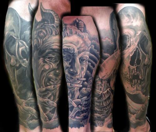 16caa561d4c69 devil and skull half leg sleeve by Mathew Hays: TattooNOW :