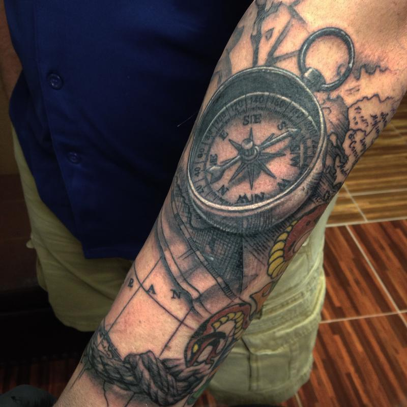Old map compass tattoos exclusive clipart old compass and map by danny elliott tattoonow rh tattoonow com old compass tattoo designs world map tattoo gumiabroncs Choice Image