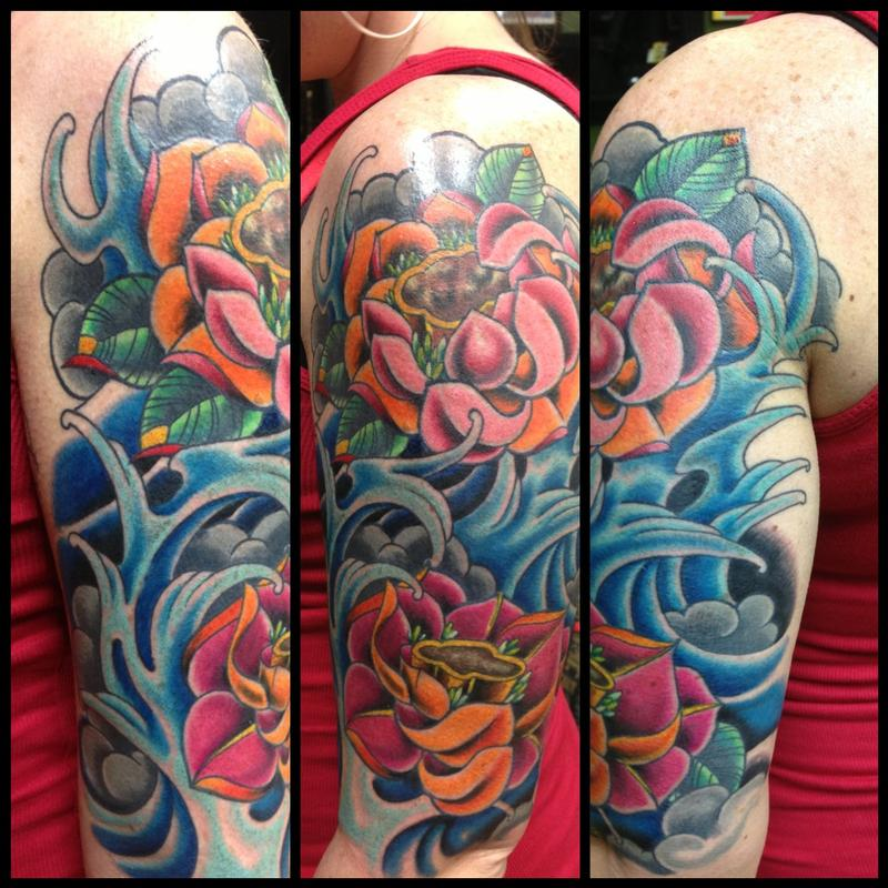Color bomb lotus flowers and water by kr rossi tattoonow kr rossi color bomb lotus flowers and water mightylinksfo