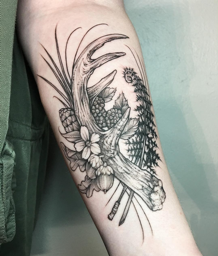 Michael Bales - Antler and Floral on Bicep- Instagram @MichaelBalesArt
