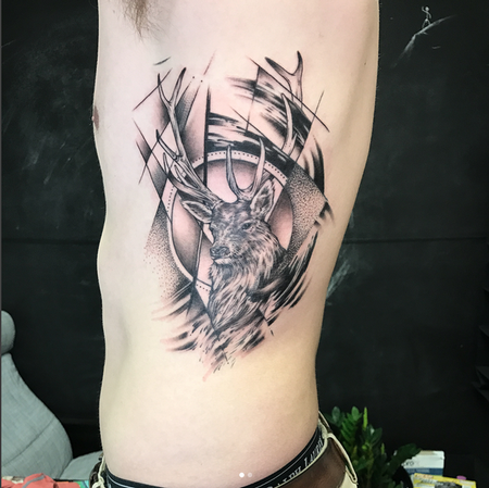 Michael Bales - Stag Head and Geometric/Abstract Elements on Ribs- Instagram @MichaelBalesArt