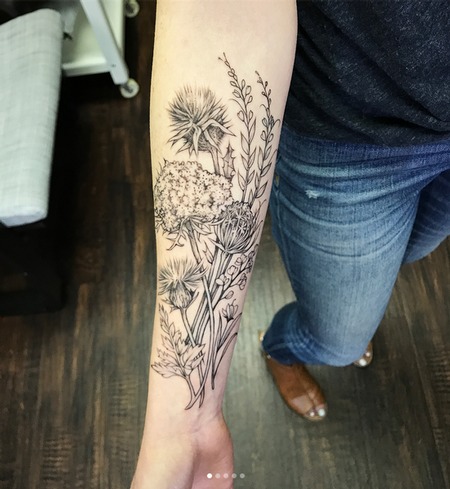 Michael Bales - Thistles and Wildflowers on Forearm- Instagram @MichaelBalesArt