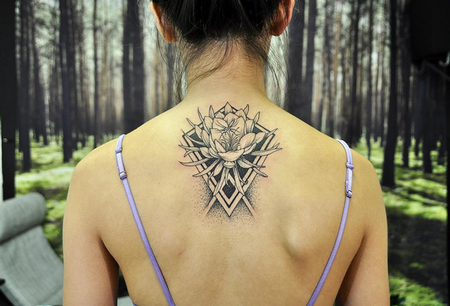 Michael Bales - Quynh and Geometry on Back- Instagram @MichaelBalesArt