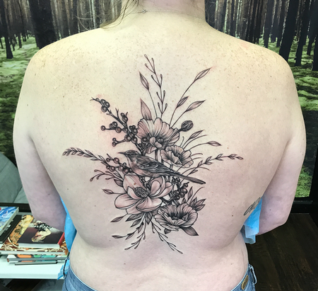 Michael Bales - Mockingbird and Floral on Back- Instagram @MichaelBalesArt