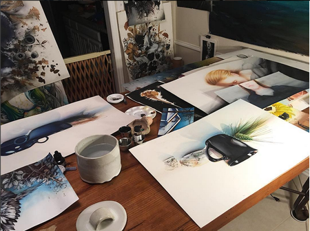 Michael Bales - Studio- Watercolors in Progress. Instagram @michaelbalesart
