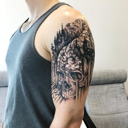 SKULL, MOUTAIN, WATERFALL ON ARM. INSTAGRAM @MICHAELBALESART Design Thumbnail