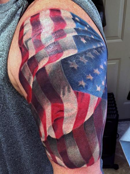 Tattoos - american flag - 115408