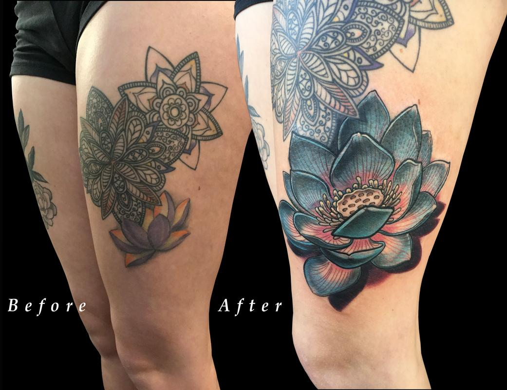 Lotus flower thigh color coverup by nicole laabs tattoonow nicole laabs lotus flower thigh color coverup izmirmasajfo