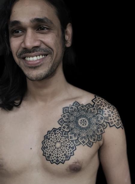 Tattoos - dotwork indian traditional mandala chest pattern tattoo - 119067