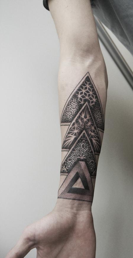 Tattoos - dotwork geometric forearm tattoo - 126271