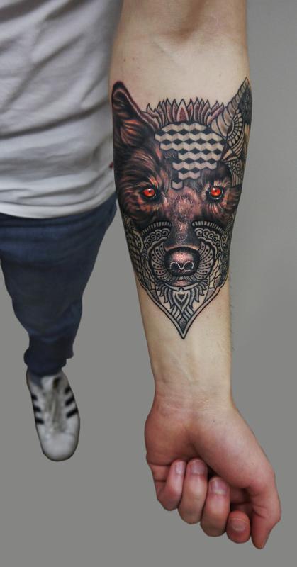 60257363e332d semi realistic semi geometric dotwork wolf tattoo by Obi: TattooNOW :
