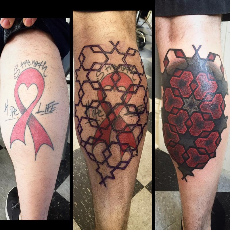 Large scale blackwork geometric calf coverup tattoo by for How to cover up tattoos for work