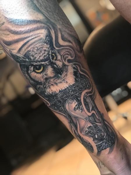 Tattoos - owl with hourglass tattoo - 132921