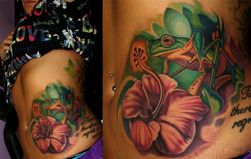 Froggie flower by ernesto nave tattoonow for Beauty mark tattoo