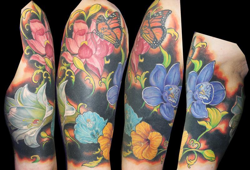 Floral half sleeve by david dettloff tattoonow for Ink lab tattoo