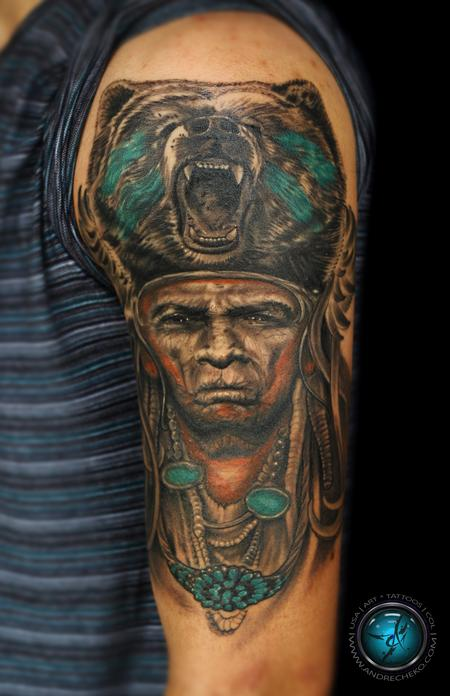 Indian native american half sleeve mix color tattoo by for How to blend tattoos into a sleeve