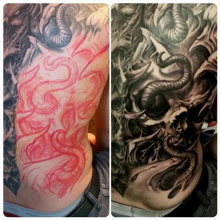 Tattoos - back piece skull tentacle - 128756